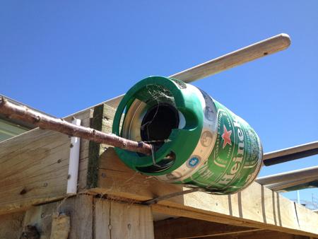 ゆうさん手作り。ビール樽缶再利用。